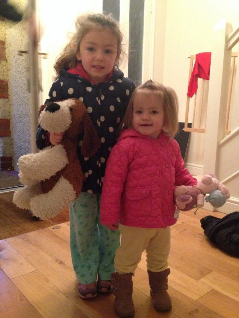 sisters in pyjamas for Children in Need