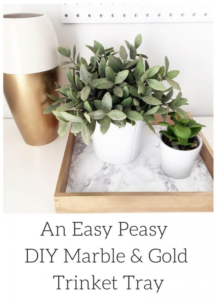 An Easy Peasy DIY Marble & Gold Trinket Tray